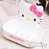 〔小禮堂韓國館〕Hello Kitty 浴室造型吸盤式皂盤《白.大臉.粉蝴蝶結》素描系列