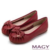 MAGY 復古甜美 手工縫線牛皮蝴蝶結鑽飾平底鞋-紅色