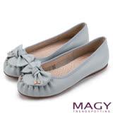 MAGY 復古甜美 手工縫線牛皮蝴蝶結鑽飾平底鞋-藍色