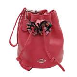 COACH珊瑚紅荔枝紋全皮花朵手提掛水桶包