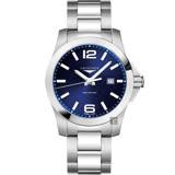 LONGINES浪琴 Conquest 300米石英手錶-藍x銀/43mm L37604966