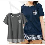 日本ANNA LUNA 現貨-異素材胸前小口袋設計上衣(炭灰色/M.3L)