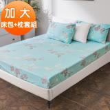 J-bedtime【柔幕飄絮】柔絲絨加大三件式床包+枕套組