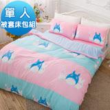 J-bedtime【豆豆龍世界】雙面花柔絲絨單人三件式被套床包組