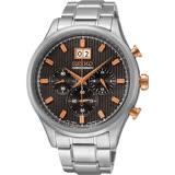 SEIKO CS 爵士大日期視窗計時手錶-黑灰/42mm 7T04-0AE0P(SPC151P1)