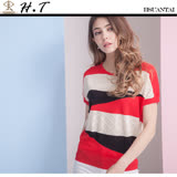 玄太-簡約幾何織紋透氣針織上衣(紅)