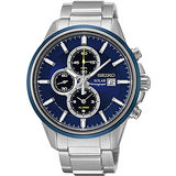 SEIKO SPIRIT 太陽能兩地時間計時手錶-藍x銀/42mm V172-0AR0B(SSC253P1)