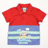 【愛的世界】MYBABY 電影嘉年華系列純棉橫紋短袖POLO衫/2~3歲-台灣製-