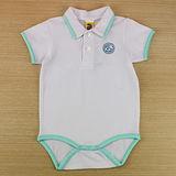【愛的世界】MYBABY 小狗三兄弟系列POLO衫領短袖彈性連身衣/1~2歲-台灣製-