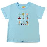【愛的世界】MYBABY 小狗郊遊去系列純棉圓領短袖T恤-灰藍/2~4歲-台灣製-