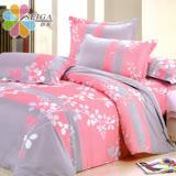 飾家《相思葉》頂級加大活性絲柔棉四件式兩用被床罩組台灣製