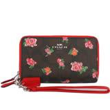 【COACH】PVC LOGO皮革/紅色小花雙拉鏈中夾/手拿包(深咖啡色)