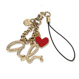 agnes b.ab heart logo 愛心手機吊飾 金