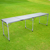 【LIFECODE】超長240cm四折箱型鋁合金折疊桌/野餐桌