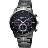 agnes b. 魔幻精靈計時太陽能手錶-紫xIP黑/40mm V175-0CE0T(BU8008P1)