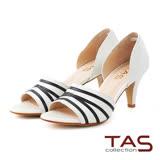 TAS 不規則條紋側鏤空魚口高跟鞋-法式白