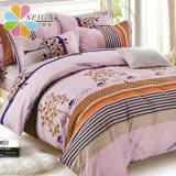 飾家《清雅小調》頂級加大活性絲柔棉四件式兩用被床罩組台灣製