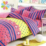 飾家《愛心滿滿》頂級加大活性絲柔棉四件式兩用被床罩組台灣製