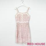 Red House 蕾赫斯-花朵蕾絲無袖長洋裝(粉色)