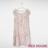 Red House 蕾赫斯-花朵小包袖洋裝(粉色)