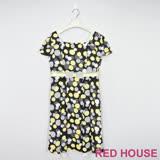 Red House 蕾赫斯-點點蕾絲蝴蝶結洋裝(黃色)