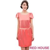 Red House 蕾赫斯-緞面立體袖洋裝(紫色)
