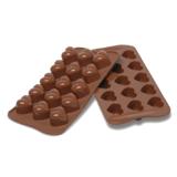 義大利進口《Silikomart》15連心型矽膠巧克力模 /冰模/22.101.77.0065