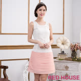Red House 蕾赫斯-無袖蕾絲蛋糕裙洋裝(粉色)