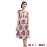 Red House 蕾赫斯-滿版花紋蕾絲洋裝(粉色)