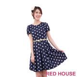 Red House 蕾赫斯-波卡點點蝴蝶結腰帶洋裝(深藍色)