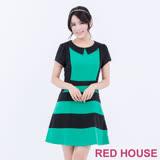 Red House 蕾赫斯-撞色條紋短袖洋裝(綠色)