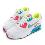 NIKE 大童鞋 慢跑鞋 白桃水藍 NIKE AIR MAX 90 MESH (GS) - 833340103