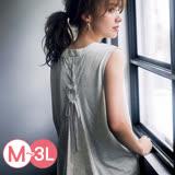 日本ANNA LUNA 預購-背蕾絲綁結長版無袖上衣(共三色/M-3L)
