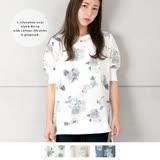日本ANNA LUNA 預購-花朵圖樣寬鬆感休閒風長上衣(共三色/M)