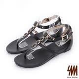 SM-羅馬系列-寶石夾腳楔型低跟涼鞋-黑色