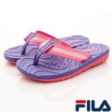 FILA頂級童鞋-運動休閒夾腳涼鞋-S434R-955紫粉-(20-24cm)
