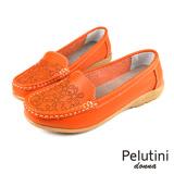 【Pelutini】donna 淺口刺繡豆豆鞋 橘色(W078-OR)