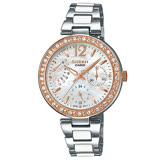 CASIO 卡西歐 SHEEN 優雅氣質晶鑽錶款 三眼石英不鏽鋼女錶 SHE-3042SG-7A