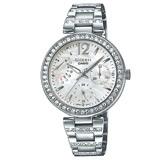 CASIO 卡西歐 SHEEN 閃耀奢華高質感晶鑽錶款 三眼不鏽鋼女錶 SHEEN SHE-3043D-7A