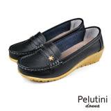 【Pelutini】donna厚底簡約豆豆鞋 黑色(W095-BL)
