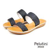 【Pelutini】donna寬面亮質涼拖鞋 黑色(5922W-BL)