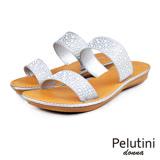 【Pelutini】donna寬面亮質涼拖鞋 銀色(5922W-SI)