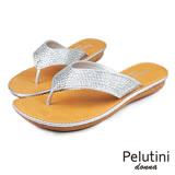 【Pelutini】donna貼鑽夾腳涼拖鞋 銀色(5923W-GO)