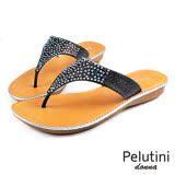 【Pelutini】donna耀眼亮質夾腳涼拖鞋 黑色(5924W-BL)