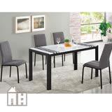 AT HOME-羅禮士4.6尺黑色漢白玉原石餐桌椅組(一桌四椅)