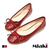 【Miaki】娃娃鞋韓都會動物紋百搭平底包鞋 (紅色 / 黑色)