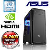 華碩B250平台【聖龍俠者】Intel i5-7400四核心 GTX1050TI-4G獨顯 240G SSD 七代I5電玩效能電腦