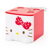 〔小禮堂〕Hello Kitty 桌上單抽積木收納盒《紅白.大臉》可多個推疊