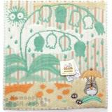 〔小禮堂〕宮崎駿 Totoro龍貓 小方巾禮盒《棕綠.撐傘》日本丸真系列