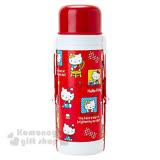 〔小禮堂〕Hello Kitty 2way不鏽鋼水壺《紅蓋.滿版.1000ml》保溫.保冷OK!